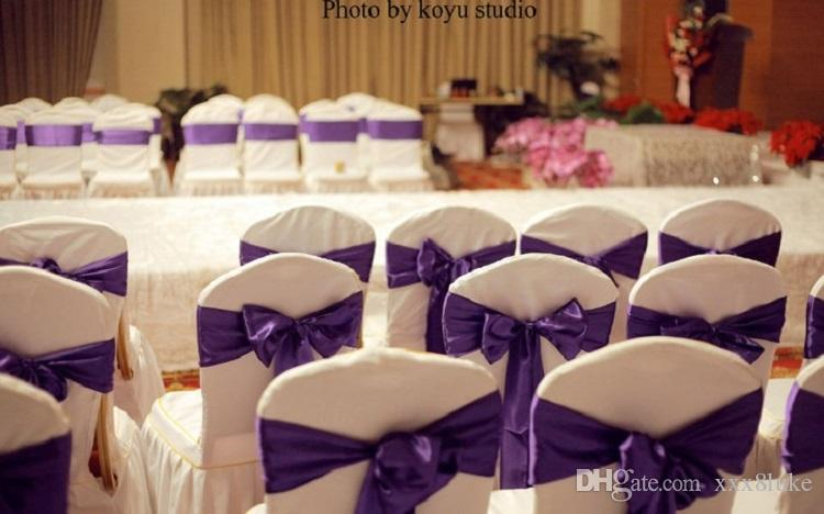 Eggplant colour satin sash chair high quality bow tie for chair covers sash party wedding hotel banquet home decoration wholesale