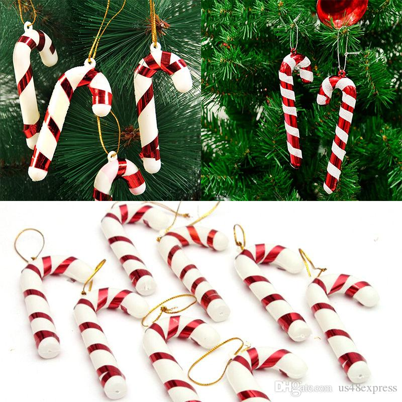 factory wholsale 6 xmas tree candy cane hanging ornament decoration christmas home party decor random color party christmas gift silver christmas