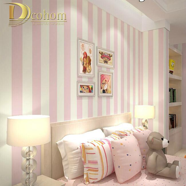 Wholesale  Cozy Bedroom Vinyl Wallpaper Blue White Stripe Wall Paper  Wallpaper Roll Modern Feature Vertical Striped R10