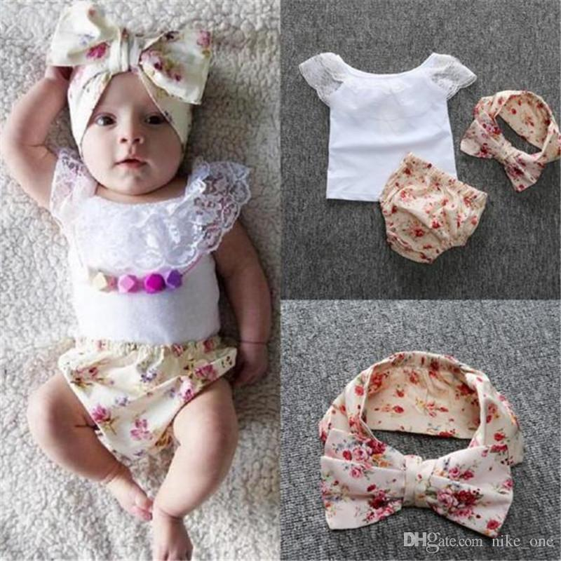 a48d270214e6 2019 DHL Baby Clothes Lace Set INS Summer Girls Sleeveless Vest ...
