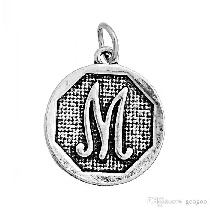 """Charm Pendants Round Antique Silver Mixed Alphabet/Letter """"A-Z"""" Pattern 23.0mm x 20.0mm,2015 new"""