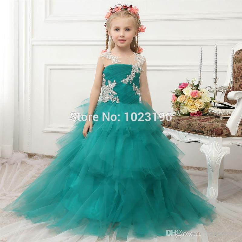 fe14a1366 HighBuy 2017 Sparkling Green Ball Gown Ruffles Puffy Girls Pageant ...