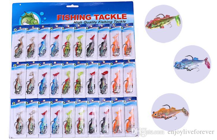 Wholesale Price Lead Fish Soft Body Road Fishing Baits with Two Mustad Hooks and 55mm 10g Fake Lures for Saltwater
