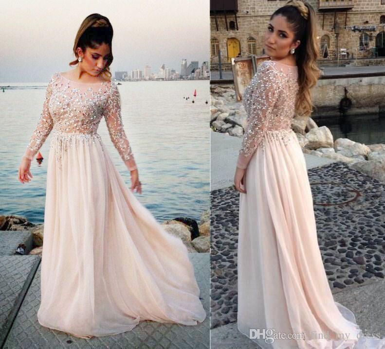 2019 Luksusowy styl Długi Rękaw Illusion Plus Size Prom Dresses Scoop Neck Hot Crystals Koraliki Cekiny Długość podłogi Party Gowns Custom Made P97