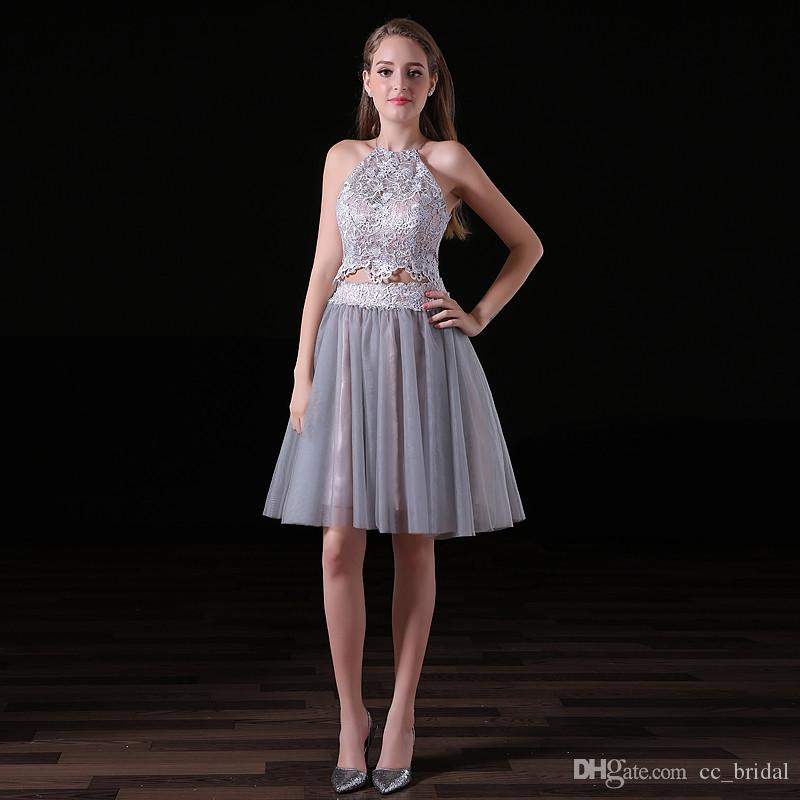 Elegant Two Pieces Short Prom Dresses 2018 With Sexy Halter Neck