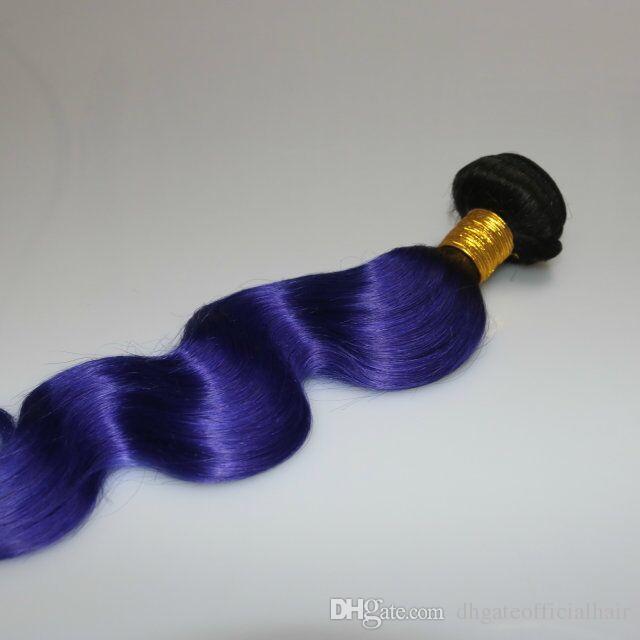 Peruvian Indian Malaysian Brazilian Body wave Hair 1b Blue Purple ombre human hair extensions 3 bundles wavy hair weft