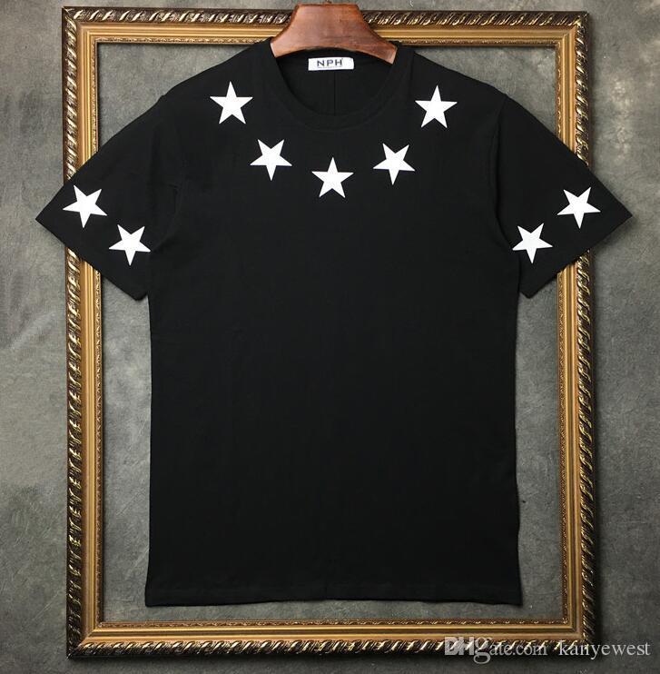 2019 Yaz Marka Üst Erkek T-Shirt kısa kollu siyah Beyaz beş sivri yıldız T Gömlek Erkekler Tasarımcı t shirt Tee yuvarlak boyun moda TShirt