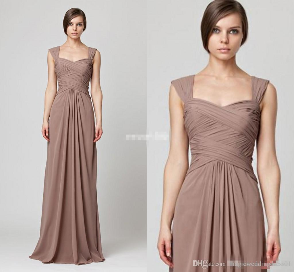 Taupe elegant long bridesmaid dresses for wedding cap sleeves see larger image ombrellifo Choice Image