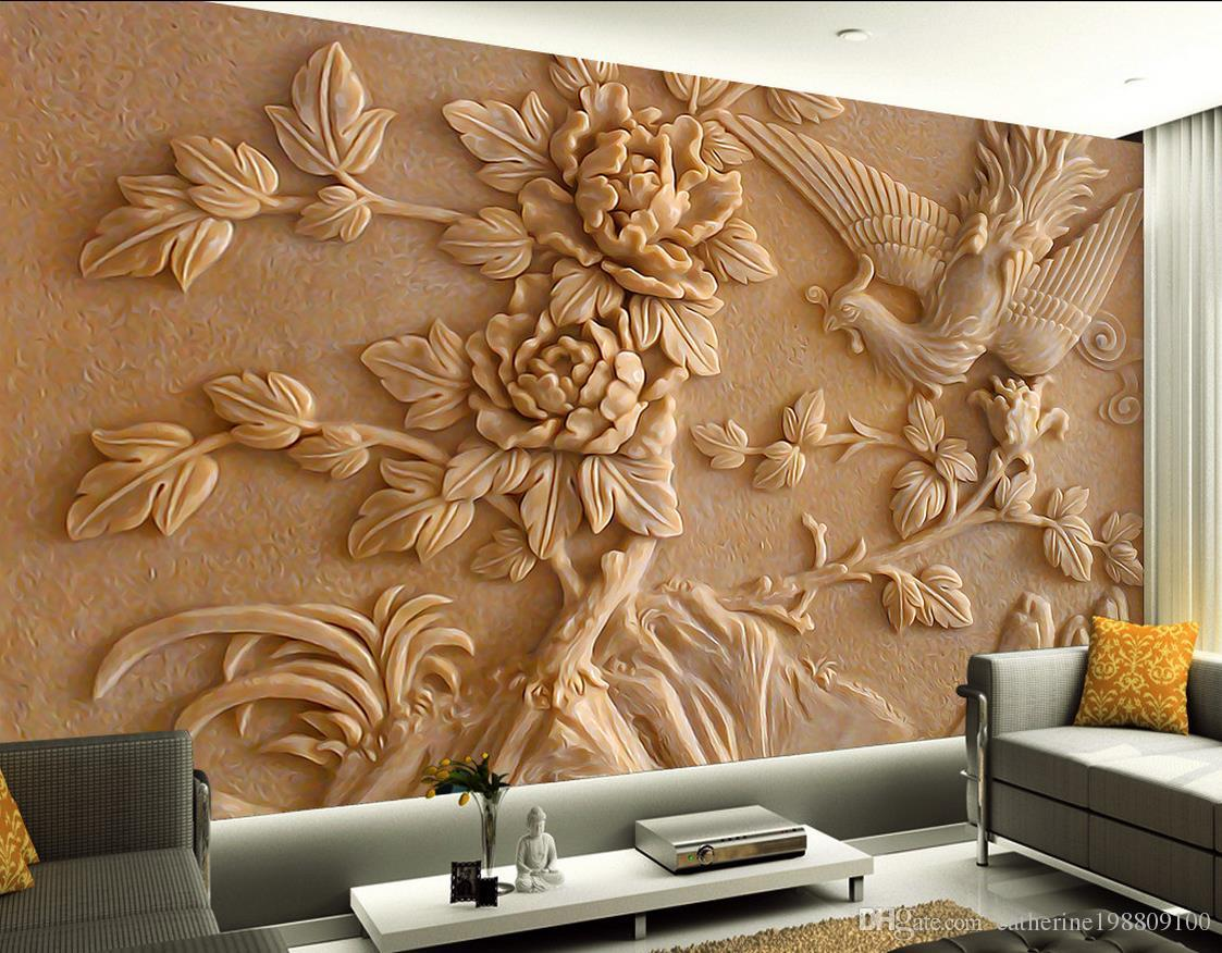 Chinese stereo relief phoenix peony mural tv wall mural 3d for Chinese mural wallpaper
