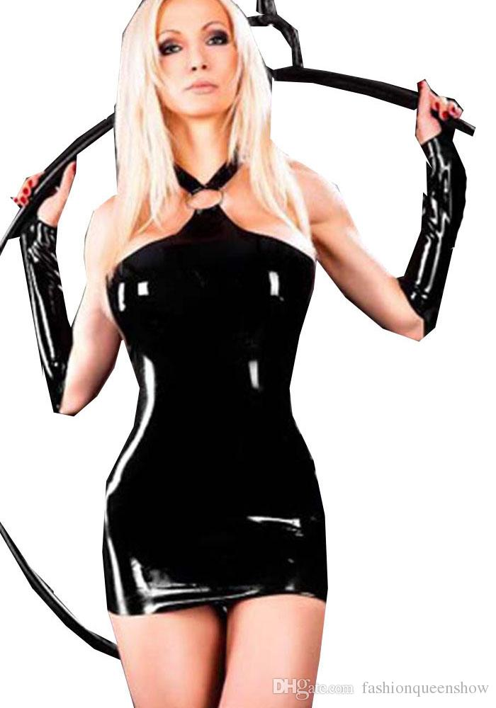 Black Gothic Punk Wet Look Women Backless Mini Dress Hollow Out Buckle Bodycon Halter Dress Stripper Night Party Wear