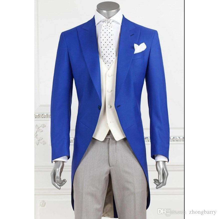 2018 New Men S Suits Fashion Royal Blue Groom Long