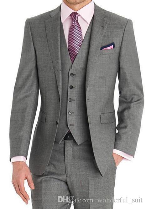 2017 Custom made Herren Hellgrau Anzüge Fashion Formales Kleid Männer Anzug Set männer hochzeit anzüge bräutigam smoking Jacke + Pants + Weste + Tie