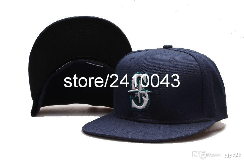 classic navy mariners baseball fitted hats cap womens