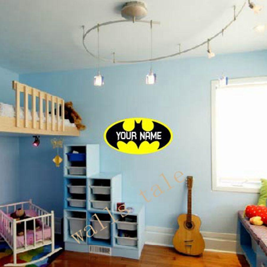 Personalized Batman Loge Vinyl Wall Sticker Batman Monogram Wall - Custom reusable vinyl wall decals