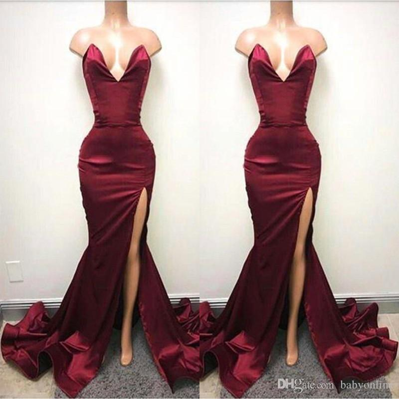 caf6bbbd19b 2019 Hot Burgundy Mermaid Prom Dresses Sexy Backless Sweetheart High Split  Long Evening Gowns Ruched Celebrity Holiday African Party Gowns Prom Dress  Styles ...