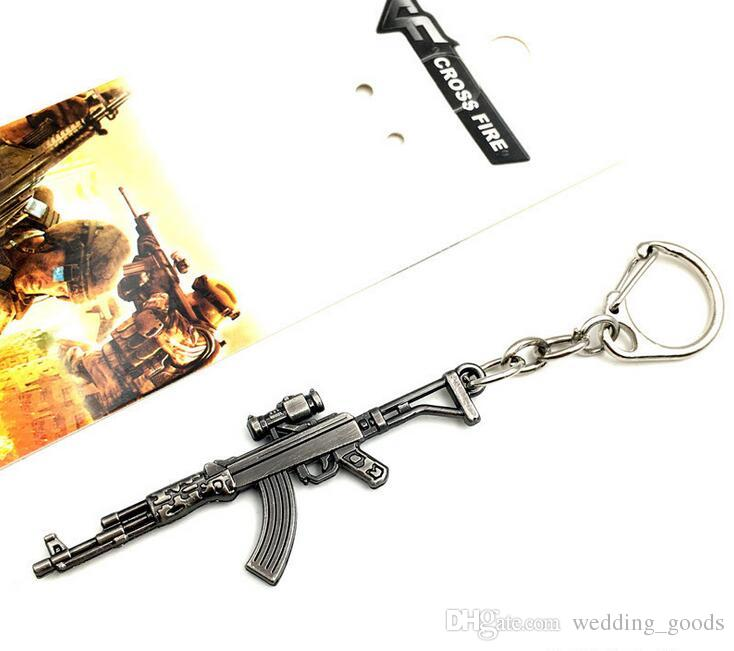Through the fire line around the CF weapons gun mold alloy key ring pendant KR073 Keychains a