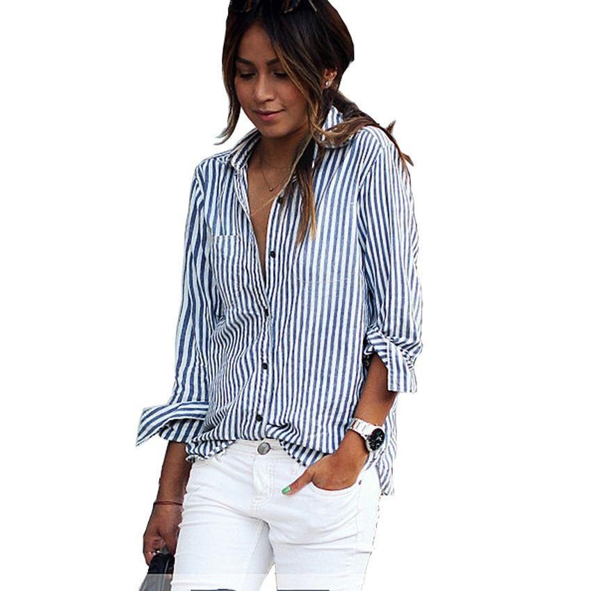 bc3fd3244cc 2019 Blusas Mujer De Moda 2017 Work Blouse Plus Size Long Sleeve Top Women  Blouse For Women Classic Striped Shirt Camisas Mujer From Acore