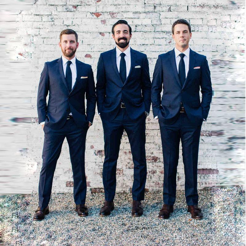 Два куска на заказ щедрый военно-морской флот две кнопки Groom Tuxedos Groomsmen Лучший мужской костюм мужские свадебные костюмы куртка + брюки + галстук
