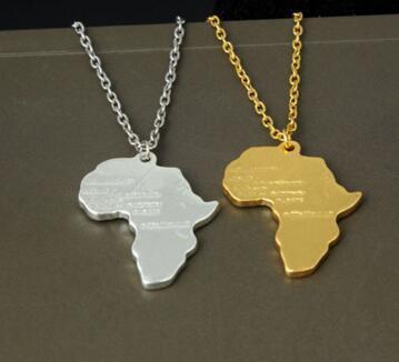 Gioielli hip hop Mappa africana Hip Hop Pendenti in argento placcato oro Girocolli Collane Collana da uomo Catena Coppia Catena Bijoux uomo e donna