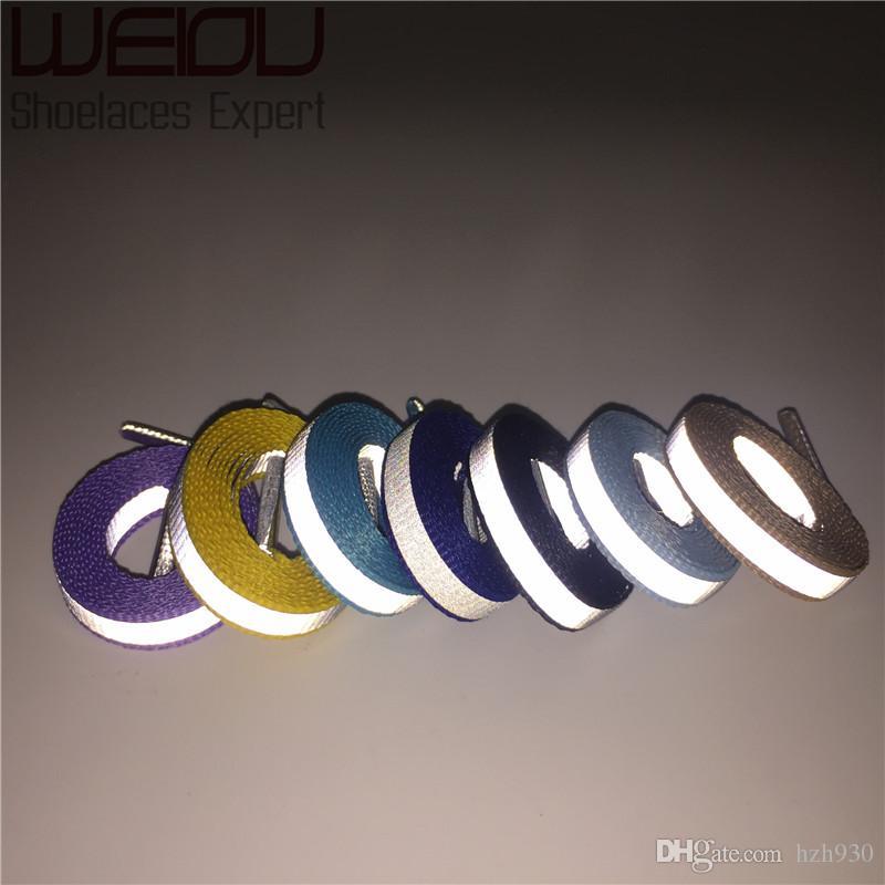 Weiou 30 pares / lote 4 M Cordones de cordones reflectantes Visibilidad Zapatillas de deporte planas para correr Zapatillas para correr Ciclismo Safty Cordones de los zapatos 90 cm