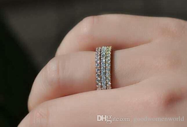 Rapide Livraison gratuite. 18 K or blanc solide argent PT950 estampillé romantique diamant synthétique bague pour les femmes de mariage bande engagement promesse anneau