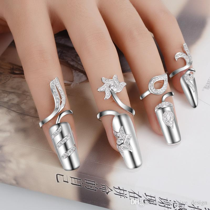 Cheap nails engagement ring finger african american free hot fashion creative cute 4 styles finger nail ring rhinestones silver flower charm female personality nail art rings gift to friends de04 prinsesfo Images