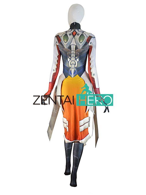 ZentaiHero 3D Print Mercy Costume Armored W Strips Girl Superhero Cosplay Game Costumes Lycra Zentai Catsuit For 2017 Halloween
