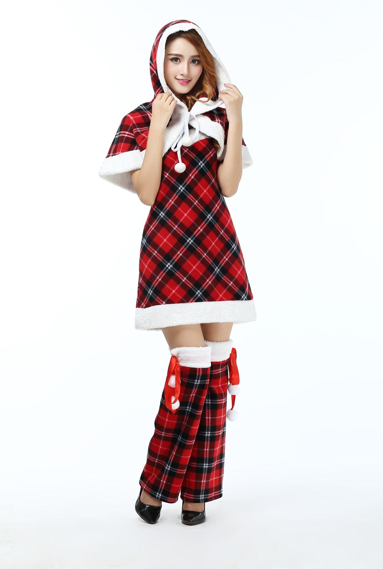 Новый Талисман Женщины Рождественское Платье Новых Женщин Сексуальный Красный Плед Рождество Рождество Праздник Миссис Санта-Клаус Костюмы Костюмы Фантазии