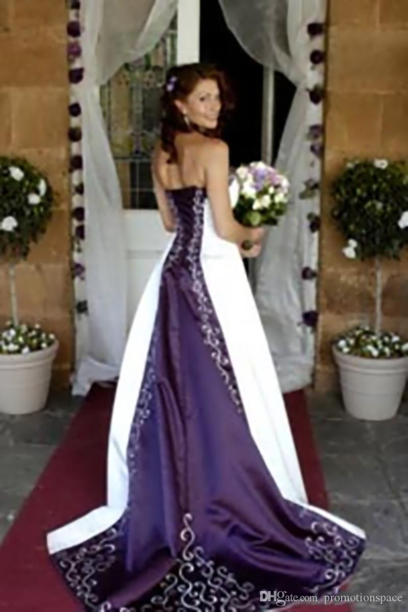 Горячие белые и фиолетовые свадебные платья 2016 Pao Вышивка Vestido де на заказ A-Line без бретелек зашнуровать назад часовня поезд свадебные платья