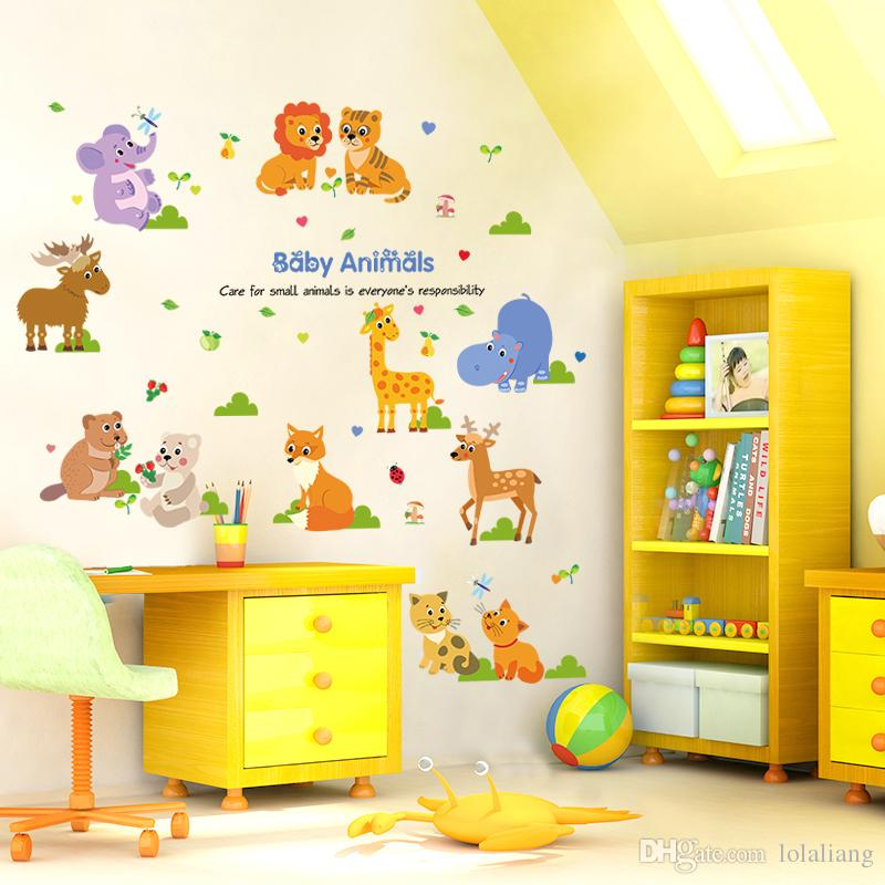 2016 SK9104 Cartoon Animals Children Room Sitting Room Kindergarten School  Classroom Can Remove The Decorative Wall Stickers In The Backgrou Part 80