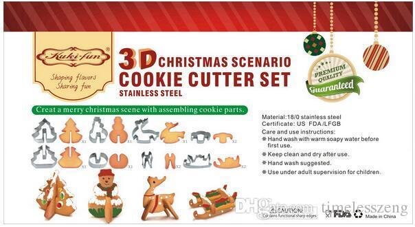 8 teile / satz DIY Weihnachten backen werkzeug edelstahl 3D solide keks kombination form weihnachten szenario dekoration
