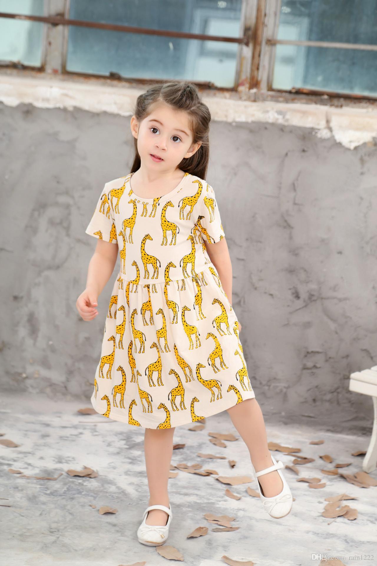 großhandel mädchen prinzessin baumwolle kurzes kleid baby kinder kurze  karikatur giraffe gedruckt plissiertes kleid kinder babys rüschen shirts