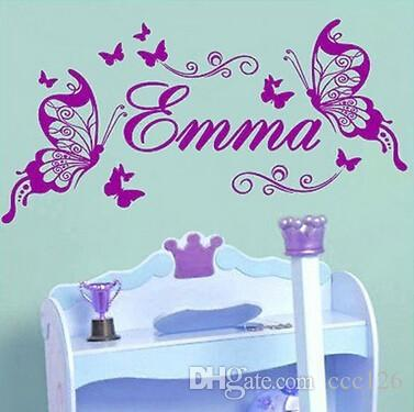 Butterflies Personalized Name Wall Stickers Decoration Medium Size Sofa  Glass Cabnet Stickers Home Decal Decor Gift Wall Decals And Murals Wall  Decals And ... Part 39
