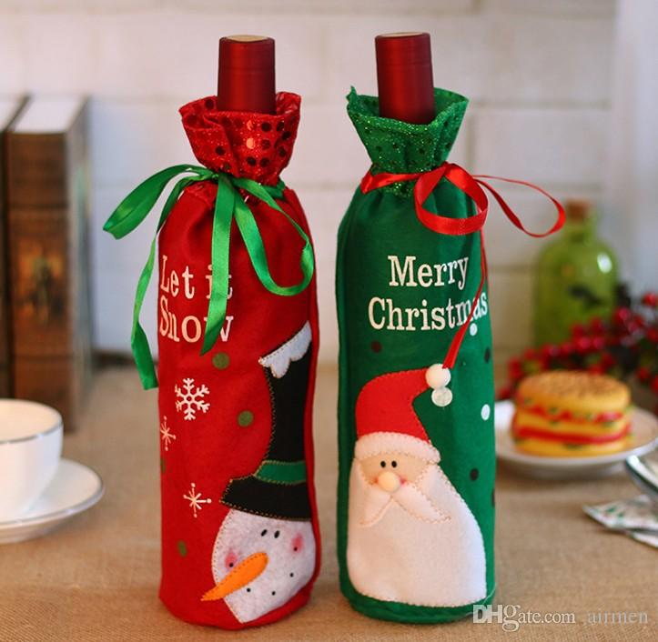 wine bottle bags burgundy christmas gifts wine decoration gifts paillette embroidery desk table decorations christmas yard decorations clearance christmas - Wine Christmas Gifts