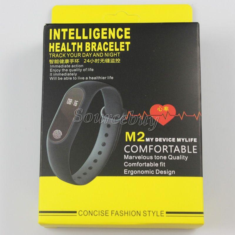 M2 Bande Moniteur de Fréquence Cardiaque Bracelet Intelligent Bracelet Miband Sport Bracelet Pour Android iOS Fitness Piste Étape Jauge OLED affichage du temps IP67 Imperméable À L'eau