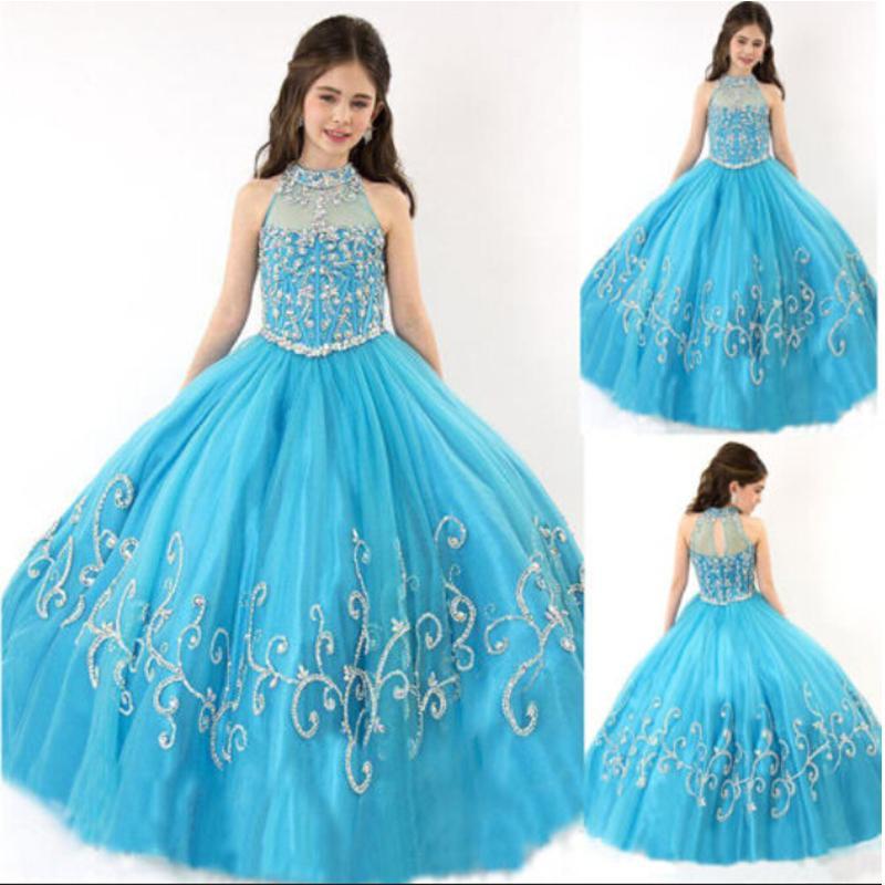 d7aafcdd288 Formal Sky Blue Beading Tulle Custom Cute Little Flower Girl Dress Floor  Length For Little Kids Party Birthday Princess Dress 15 Flower Girl Dresses  For ...