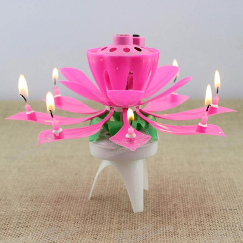 2019 Wholesale 1x Pink Magical Flower Musical Birthday Candle Party Decoration Gift Sparkler Cake Topper For From Galry 1814