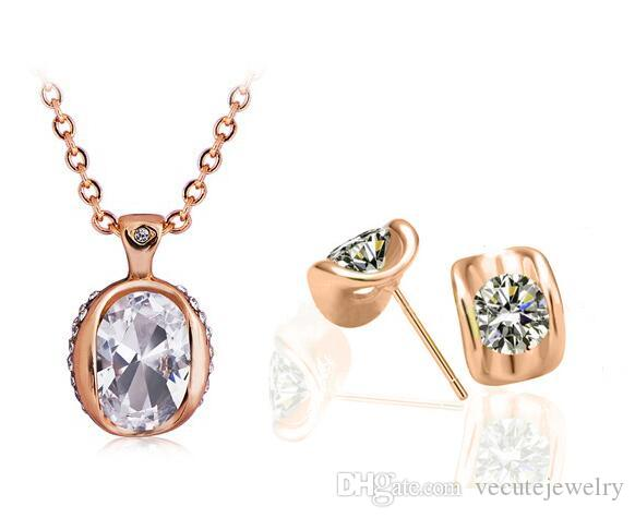 08a213e5a9b47 Wholesale Price Fashion 18K Rose Gold Plated White Austrian Crystal Eye  Shape Necklace Earrings Jewelry Sets for Women Swarovski Elements