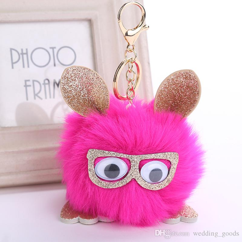 Brand new Retro personality owl pendant hair ball key ring PU leather pendant KR360 Keychains a