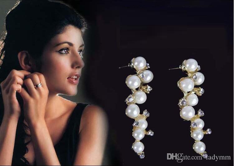 Yeni Satış Kristal Rhinestone benzetilmiş İnci Üzüm demetleri Tasarım Kızlar Küpe Kulak damızlık Moda Takı kadın hediye