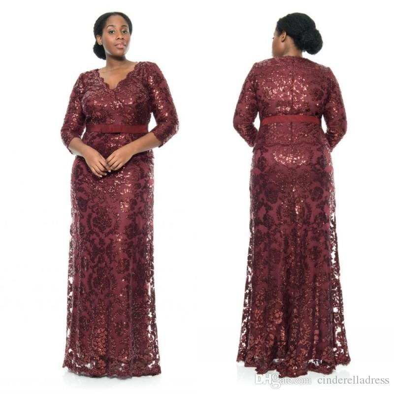 burgundy sequin lace plus size special occasion dresses v neck