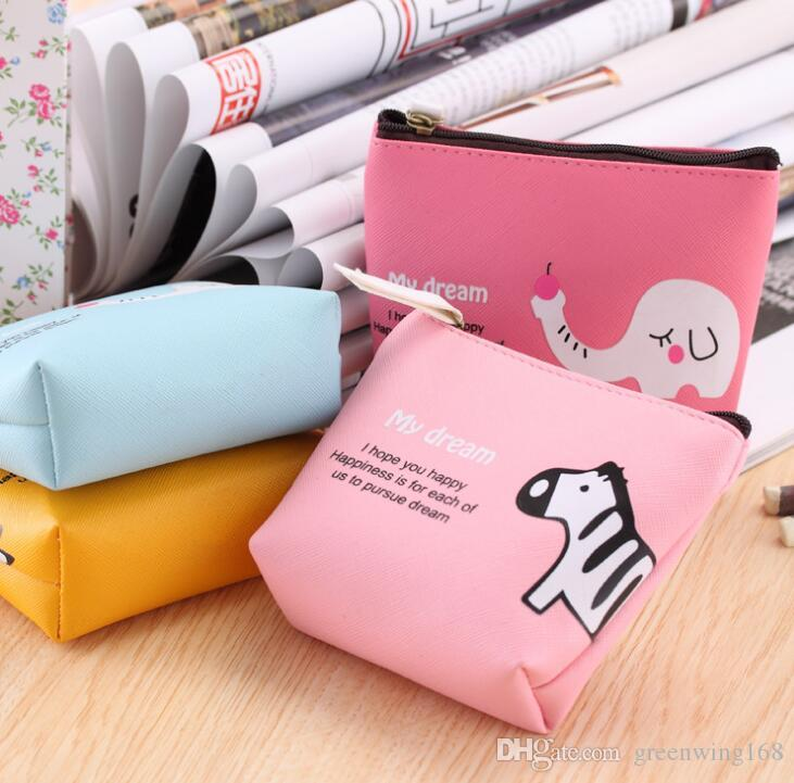 Fashion Leather Cartoon Wallet Boys Girls Cute Animal Coin Purse Wallet Bag Change Pouch Key Holder A Perfect Gift