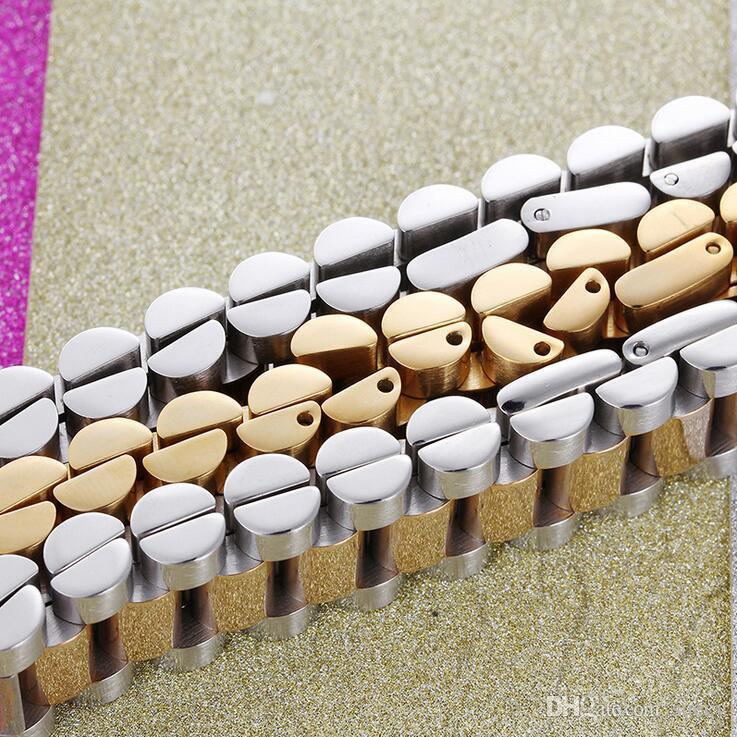 En Kaliteli 15mm Lüks Mens Bayan Watch Band Bilezik Altın Gümüş 316L Paslanmaz Çelik Kordonlu Saat Kayışı Manşet Bilezik Takı Hediyeler