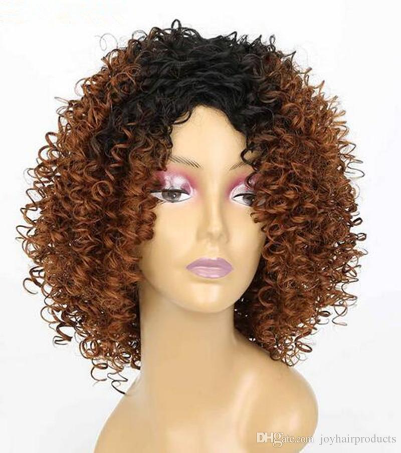 Joy Luck Medium Length Afro Kinky Curly Hair Wigs Ombre Black Brown