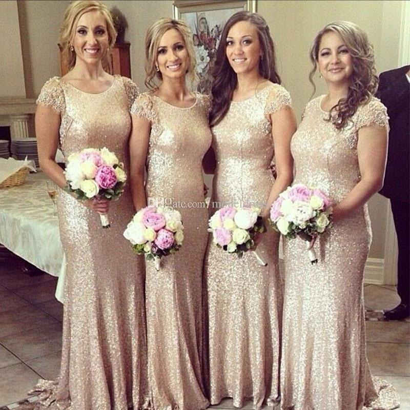 New Stunning Sequins Bridesmaid Dresses 2017 Jewel Cap Sleeve Beaded Backless Mermaid Cheap Rose Gold Plus Size Wedding Guest Party Gowns