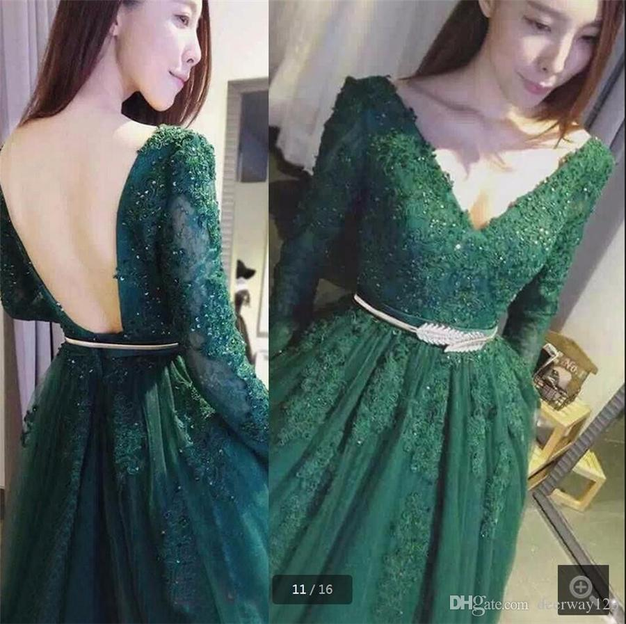 Hot Sale Green Lace Prom Dress with Gold Belt A Line Long Sleeve Appliques Beading Prom Gowns Backless Sexy Formal Prom Dresses