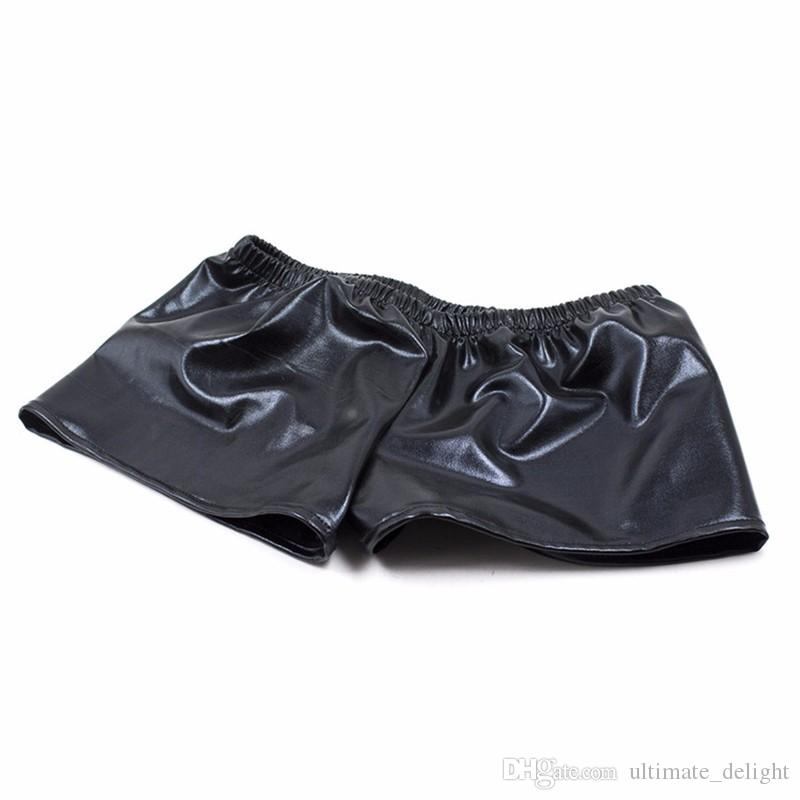 Shiny Leather Boxers Low-Waist Underwear Men Flirty Pants Tight Fit Shorts Male Briefs Sexy Cloth