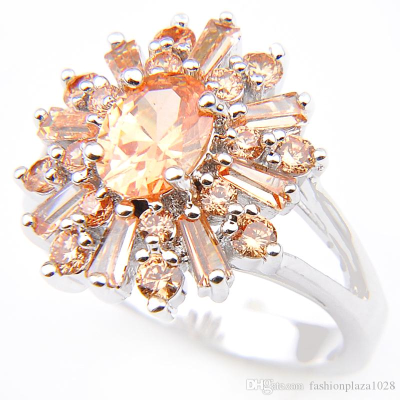 Special Offer Top Fashion Ring Champagne Cubic Zirconia 925 Sterling Silver Finger Rings Crystal Jewelry