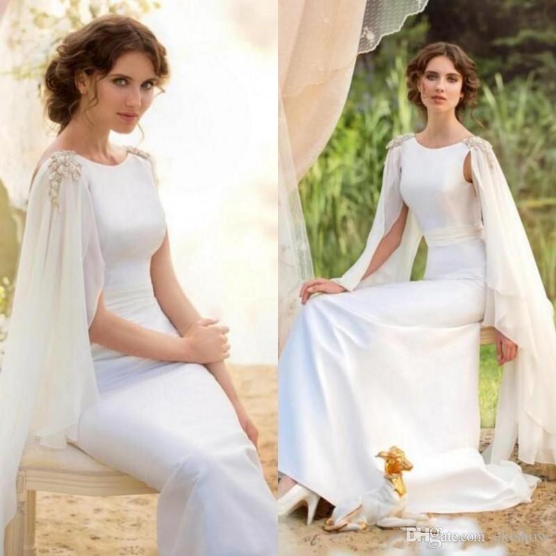 Griego 2017 White Batwing manga sirena vestidos de noche árabe musulmán vestidos formales de noche para bodas Celebrity Guest Dress por encargo