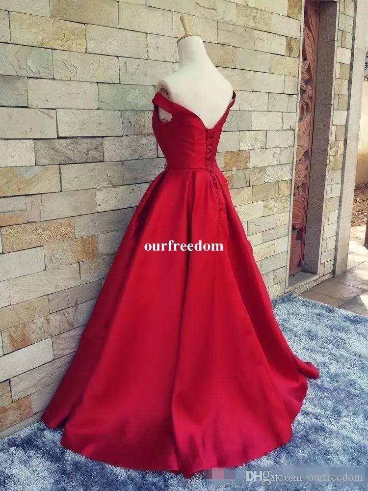 2019 Simples Vermelho Escuro Prom Dresses V Pescoço Fora Do Ombro Ruched Cetim Custom Made Backless Espartilho Vestidos de Noite Vestidos Formais Imagem Real